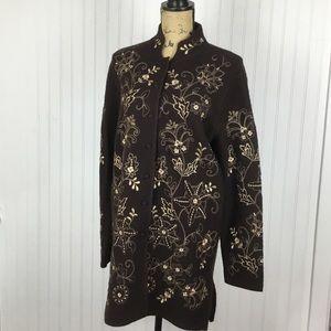 Carole Little 100% Wool Jacket Sweater